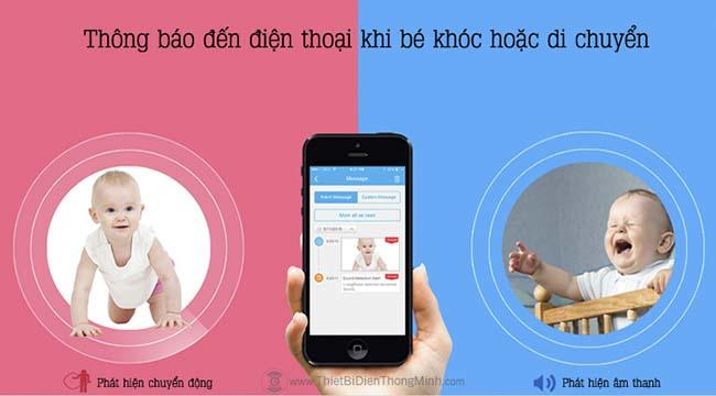 Thông báo đến điện thoại khi bé khóc hoặc di chuyển